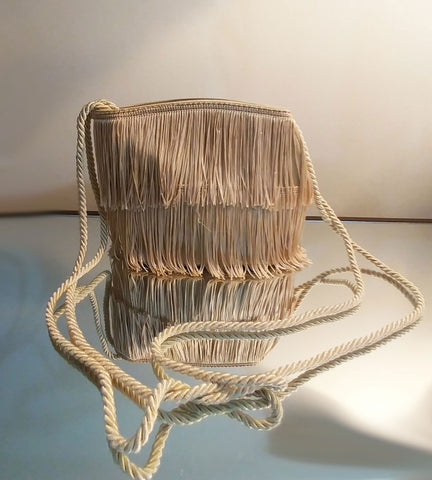 VINTAGE SAKS FIFTH AVENUE GOLD FRINGE EVENING PURSE - MADE IN ITALY