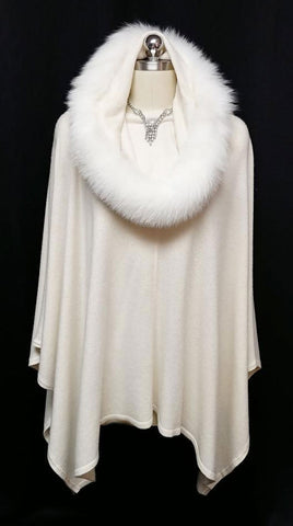 NEW WITH TAGS - SAKS FIFTH AVENUE SNOW QUEEN CASHMERE & WHITE FOX FUR WRAP / RUANA / SHAWL - WOULD MAKE A WONDERFUL CHRISTMAS OR BIRTHDAY GIFT!