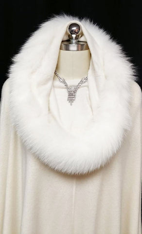 NEW WITH TAGS - GORGEOUS SAKS FIFTH AVENUE SNOW QUEEN CASHMERE & WHITE FOX FUR WRAP / RUANA / SHAWL - WOULD MAKE A WONDERFUL CHRISTMAS OR BIRTHDAY GIFT!
