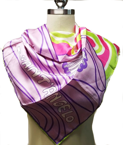 VINTAGE GIORGIO SANT' ANGELO FOR SALLY GEE SILK SEA SHELL SCARF IN LAVENDER, HOT PINK & LIME