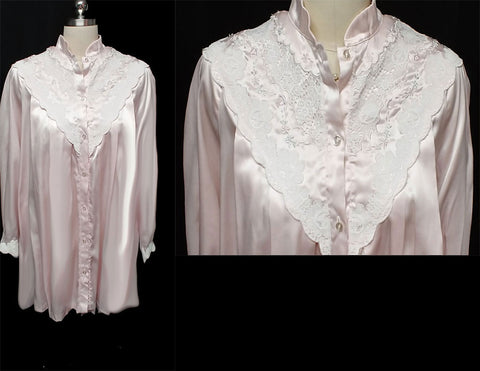 VINTAGE SARA BETH BRIDAL GLEAMING SATIN POET'S SHIRT NIGHTGOWN SET WITH EXQUISITE LACE & EMBROIDERY