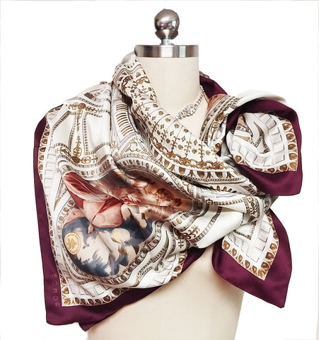 EXQUISITE VINTAGE ECHO THE VATICAN LIBRARY COLLECTION MADE IN ITALY ANGEL CHERUBS SCARF