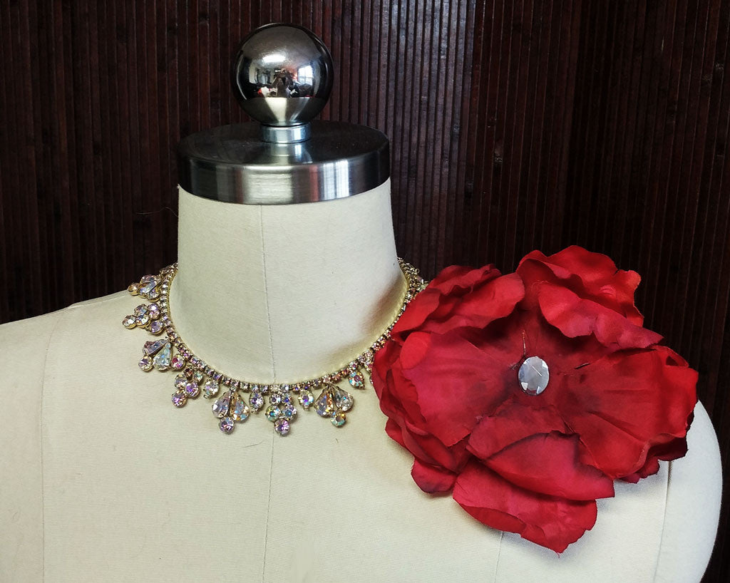 HUGE SCARLET ARTIFICIAL FLOWER ACCESSORY ACCENTED WITH A FACETED RHINESTONE - NEW OLD STOCK