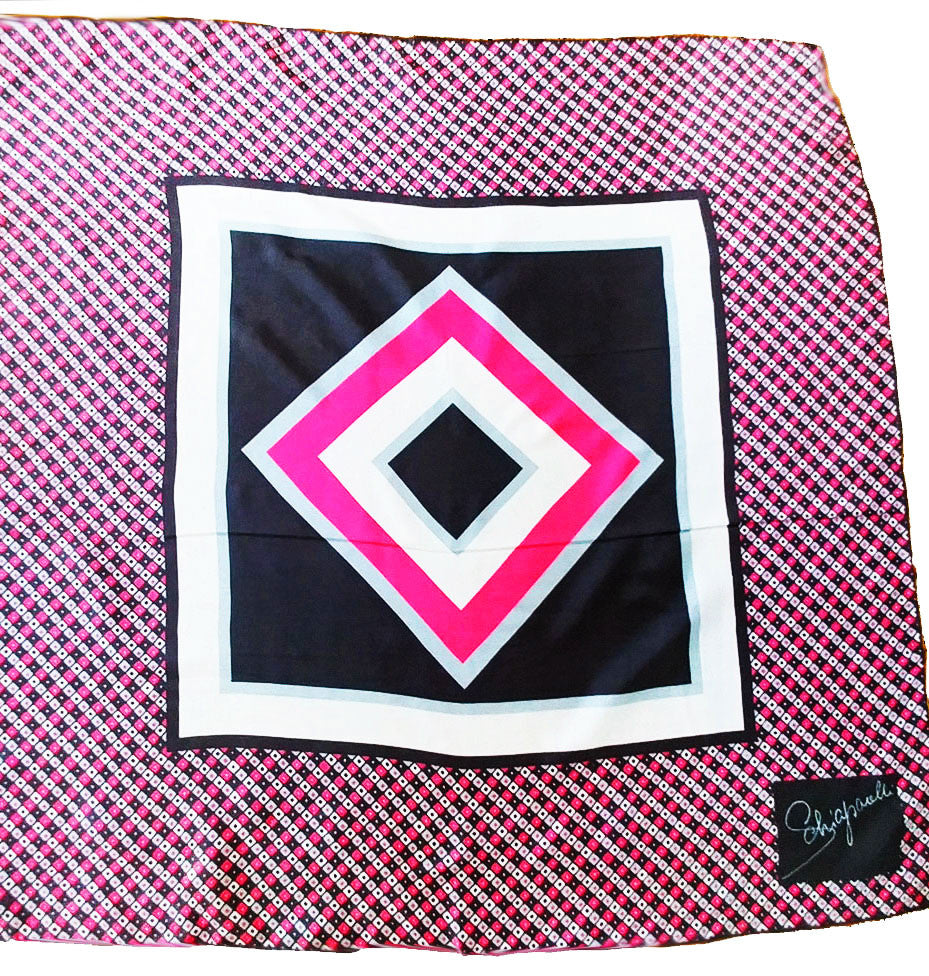 VINTAGE ELSA SCHIAPARELLI SILK SCARF IN HOT PINK, STERLING SILVER & CHARCOAL