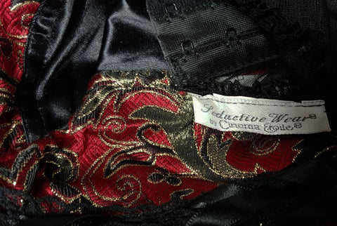 GORGEOUS VINTAGE SEDUCTIVE WEAR CINEMA ETOILE MERRY WIDOW SATIN & LACE BUSTIER IN METALLIC GOLD, SCARLET & BLACK