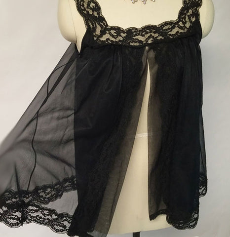 VINTAGE SHADOWLINE DOUBLE NYLON BLACK BABY DOLL SHORTY NIGHTGOWN
