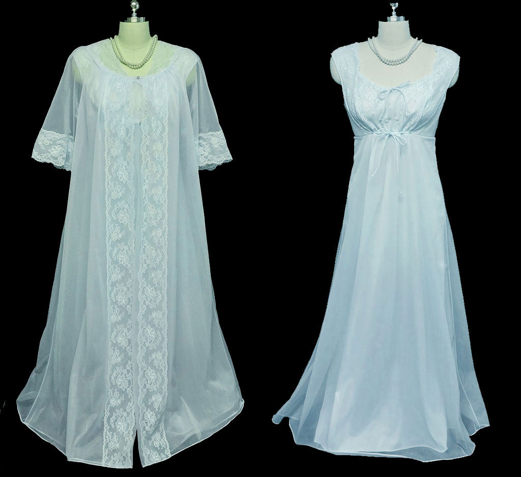 VINTAGE SHADOWLINE PEIGNOIR & NIGHTGOWN SET DRIPPING IN LACE ...