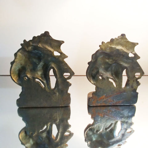VINTAGE CAST IRON NAUTICAL GALLEON SAILING SHIPS BOOKENDS