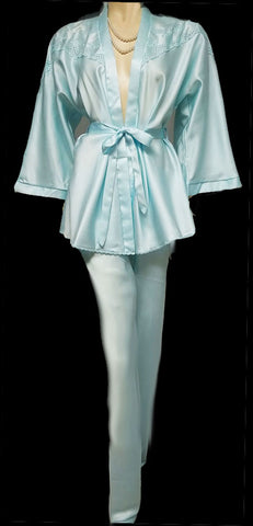VINTAGE MADE IN ITALY SILFRA EYELET EMBROIDERED SATIN LOUNGING OUTFIT / PAJAMAS IN BLUE PEARL - LIKE NEW!