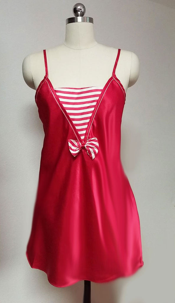 SOLD - SLEEP SOLUTIONS RED & WHITE NAUTICAL SATIN BABYDOLL NIGHTGOWN