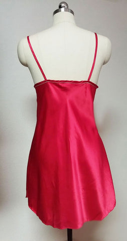 SLEEP SOLUTIONS RED & WHITE NAUTICAL SATIN BABYDOLL NIGHTGOWN