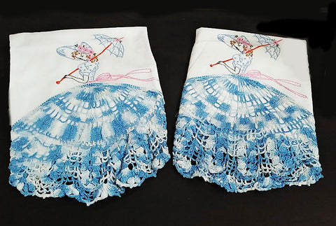 BEAUTIFUL HAND CROCHETED AND EMBROIDERED SOUTHERN BELLE WITH HUGE SKIRT AND PARASOL PILLOW CASES - 1 PAIR - NEW & NEVER USED