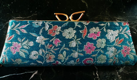 VINTAGE '50s SPECTAPURSE AQUA BROCADE & GOLD SATIN GLASSES CASE