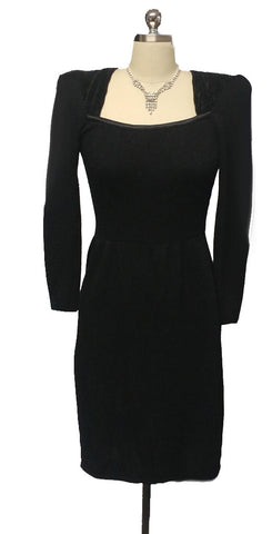 VINTAGE '80s ST. JOHN SAKS FIFTH AVENUE SANTANA PLEATED SATIN KNIT BLACK EVENING COCKTAIL DRESS