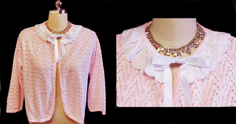 EXQUISITE 50s ST. BERNARD MADE IN THE UNITED KINGDOM SWEATER BED JACKET - SO FEMININE & WOULD MAKE A LOVELY GIFT