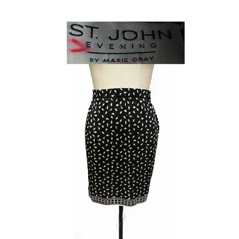 NEW - ST. JOHN EVENING BY MARIE GRAY SPARKLING BLACK & GOLD EVENING SKIRT FROM NEIMAN MARCUS