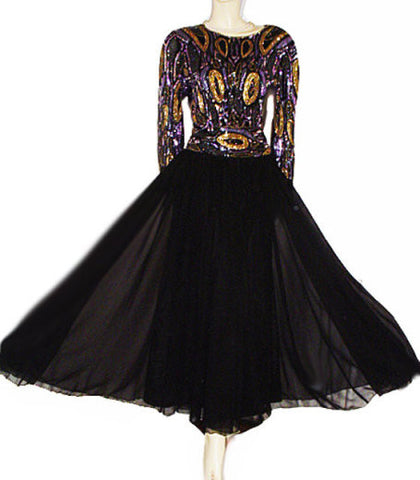 BREATH TAKING STARLIGHT SOIREE PURPLE & GOLD BEADED & SEQUIN GRAND SWEEP EVENING GOWN - PERFECT FOR A FORMAL OCCASION & THE HOLIDAYS