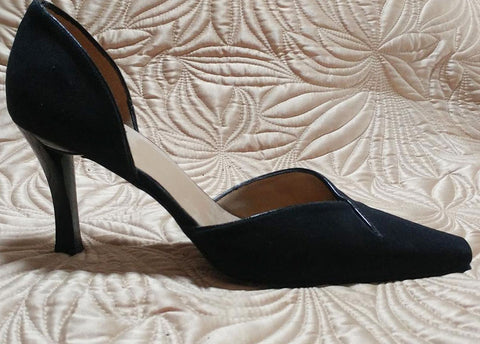 ELEGANT STUART WEITZMAN D'ORSAY BLACK FAILLE FABRIC HIGH HEELS MADE IN SPAIN - BEAUTIFUL LOOK!