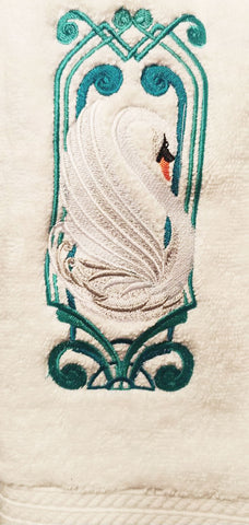 NEW - LUXURIOUS ELEGANT ART DECO WHITE SWAN EMBROIDERED HAND TOWELS - SET OF 2 - WOULD MAKE A WONDERFUL GIFT!