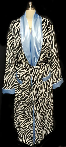 GORGEOUS SWANKIE BLANKIE ZEBRA & BLUE SATIN ROBE - SIZE LARGE