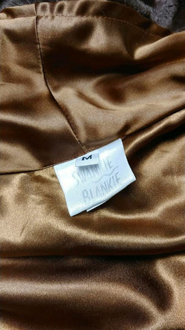 OPULENT SWANKIE BLANKIE FAUX MINK & BRONZE SATIN ROBE - SIZE MEDIUM - WOULD MAKE A WONDERFUL CHRISTMAS OR BIRTHDAY PRESENT!