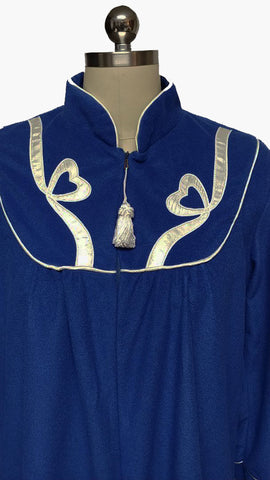 VINTAGE SWEET LIFE VELOUR ZIP UP DRESSING GOWN ROBE IN COBALT WITH WHITE SATIN HEARTS & STREAMERS