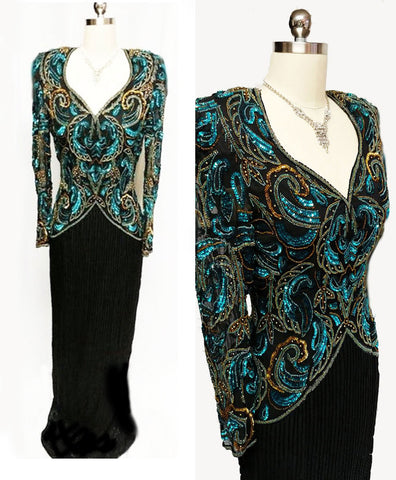 VINTAGE SCALA BLACK SILK EVENING GOWN ENCRUSTED WITH DEEP SEA BLUE & GOLD SEQUINS & BEADS - PERFECT FOR THE HOLIDAYS OR FORMAL AFFAIR.