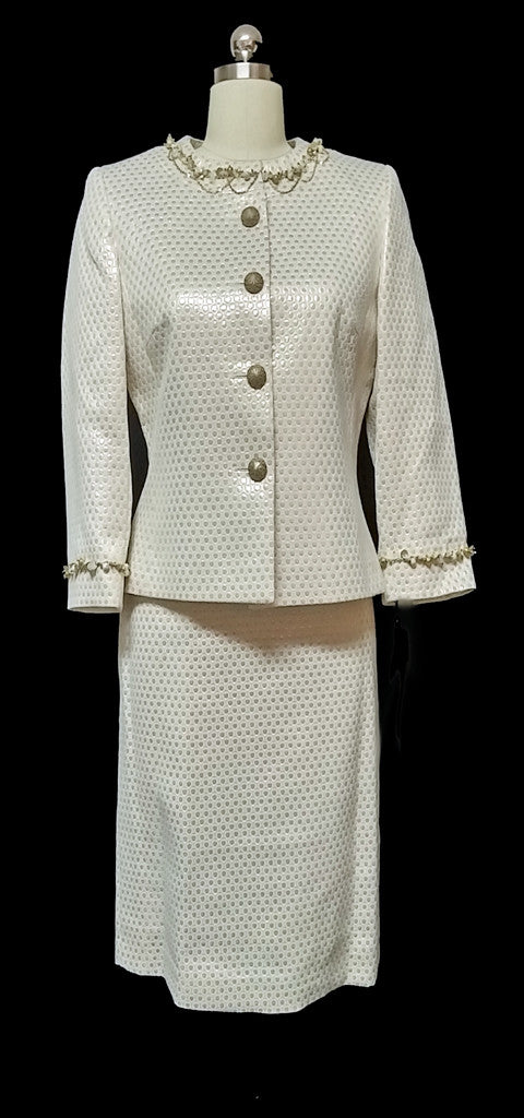 GORGEOUS TAHARI ARTHUR S LAVINE LUXE IVORY & METALLIC GOLD EVENING SUIT NEW WITH TAGS $320