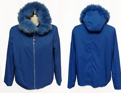 VINTAGE '80s TALK OF THE WALK - ATLANTIC CITY JACKET WITH FAUX FUR TRIMMED ZIP OFF HOOD