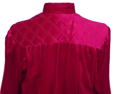 VINTAGE TAMMY VELOUR ZIP UP QUILTED ROBE /DRESSING GOWN IN RAVISHING RUBY