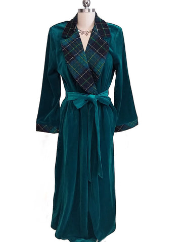NEW - RARE DIAMOND TEA CLASSIC TEAL PLAID WRAP ROBE WITH ATTACHED TIES - SIZE LARGE - #2