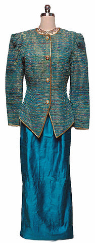 VINTAGE '80S TEAL & METALLIC GOLD SLUBBED EVENING JACKET WITH SILK DUPIONI SKIRT
