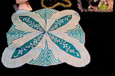 VINTAGE TEAL & AQUA HANDKERCHIEF IN A UNIQUE DESIGN