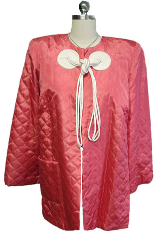 VINTAGE TEXTRON VINTAGE QUILTED TAFFETA LOUNGING JACKET BED JACKET IN CARIBBEAN CORAL - NEW OLD STOCK