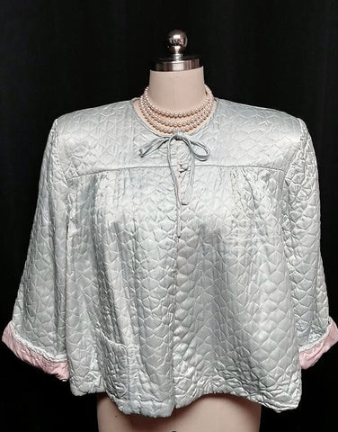VINTAGE TEXTRON SATIN QUILTED BED JACKET IN SHADES OF SILVERY BLUE & PINK - SO FEMININE!