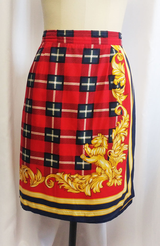 VINTAGE THE EAGLE'S EYE RED & NAVY TARTAN PLAID WRAP SKIRT - LARGE SIZE