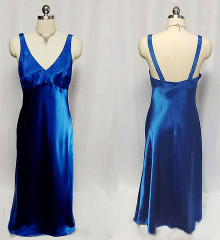 GLAMOROUS VINTAGE THE LINGERIE COLLECTION SATIN BIAS CUT NIGHTGOWN IN SAPPHIRE