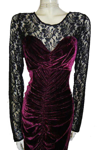 FROM MY OWN PERSONAL COLLECTION - GLAMOROUS RUCHED BURGUNDY VELVETY & BLACK LACE ILLUSION EVENING GOWN WITH SWEETHEART NECKLINE - LARGER SIZE