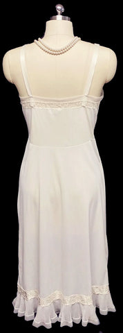VINTAGE FANCY TOP FORM NYLON TRICOT SLIP WITH PLEATS, SATIN TRIM, TULLE & LACE