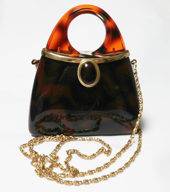 CUTE FAUX TORTOISE SHELL EVENING BAG EVENING PURSE