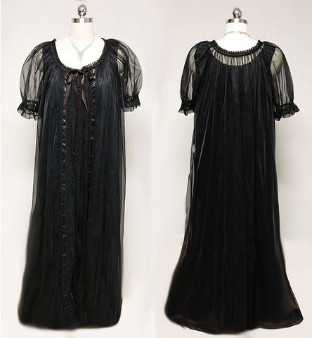 VINTAGE 60s / '70s TOSCA LINGERIE SHEER BLACK PEIGNOIR & DOUBLE NYLON NIGHTGOWN SET