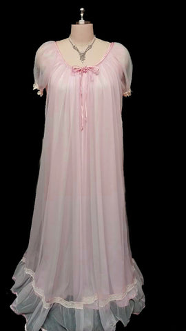 VINTAGE TOSCA VINTAGE LACE & SATIN BRIDAL PEIGNOIR & NIGHTGOWN SET IN SUMMER ROSE