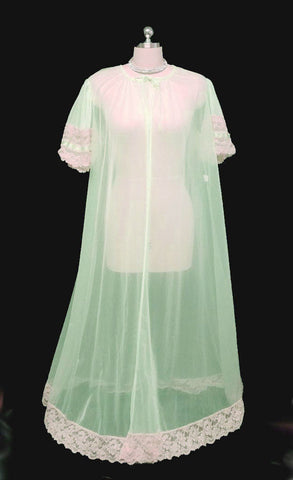 VINTAGE TOSCA PEIGNOIR TRIMMED WITH SATIN & ECRU LACE BABY DOLL SLEEVES IN SEASPRAY - SIZE LARGE