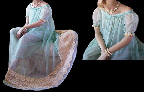 VINTAGE TOSCA GRAND SWEEP SHEER DOUBLE NYLON NIGHTGOWN WITH HUGE LACE HEM & ADORABLE BABY DOLL SLEEVES IN TIDE POOL