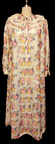 VINTAGE VICTORIAN LOOK NEIMAN MARCUS TRAVEL-LITE BY BOUTIQUE FLORAL ZIP UP ROBE DRESSING GOWN