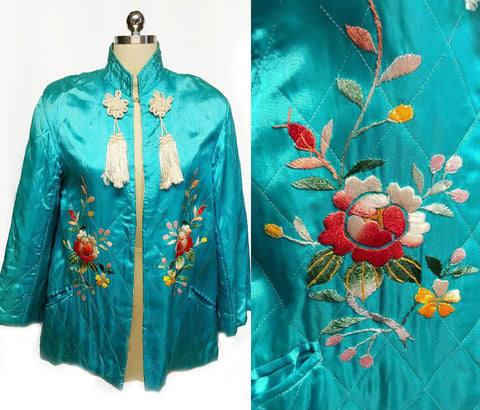 VINTAGE 50 60S ASIAN ORIENTAL TURQUOISE QUILTED JACKET WITH BEAUTIFUL FLORAL EMBROIDERY