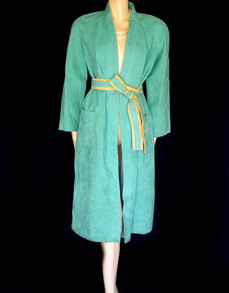 BEAUTIFUL VINTAGE TURQUOISE & BUCKSKIN LOOK ULTRASUEDE COAT