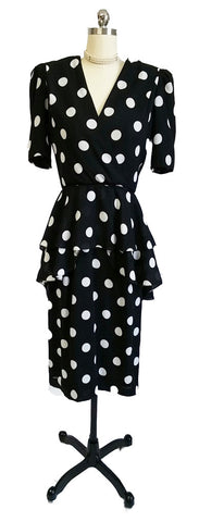 VINTAGE URSULA BLACK & WHITE DOT FLOUNCE PEPLUM TIERED DRESS