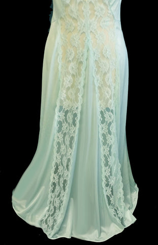 VINTAGE VAL MODE EXQUISITE STRIPS OF SHEER LACE NIGHTGOWN IN CREME DE MENTHE