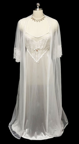 VINTAGE VAL MODE BRIDAL TROUSSEAU PEIGNOIR & NIGHTGOWN SET TRIMMED WITH SATIN TRIM & PINK SATIN RIBBON ROSETTES